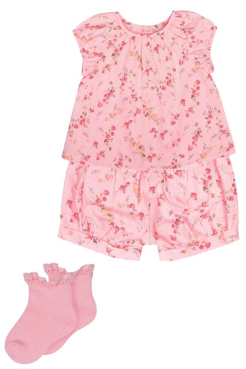 Clothing, Pink, Product, Baby & toddler clothing, Peach, Sleeve, Outerwear, Blouse, Shorts, Sleeveless shirt,