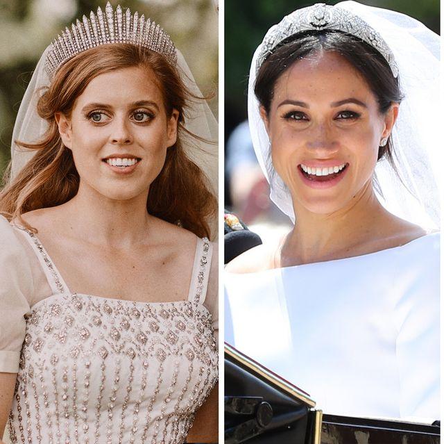 princess beatrice of york, the duchess of sussex, princess eugenie of york, and the duchess of cambridge on their wedding days