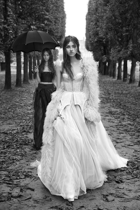 White, Photograph, Dress, Gown, Clothing, Beauty, Black-and-white, Fashion, Standing, Shoulder,