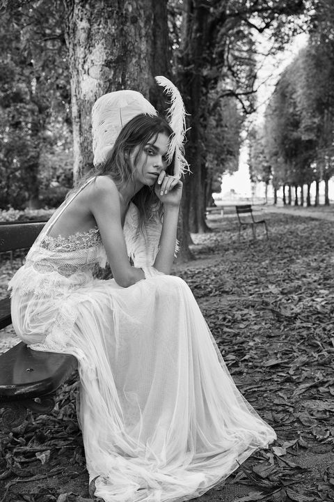 Photograph, Dress, White, Gown, Wedding dress, Bride, Clothing, Bridal accessory, Beauty, Headpiece,