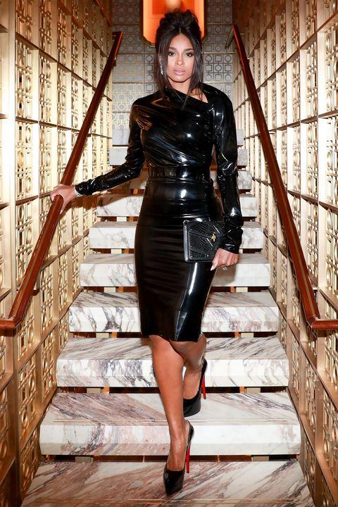 Clothing, Latex clothing, Latex, Fashion, Leather, Fetish model, Dress, Leg, Leather jacket, Fashion model,
