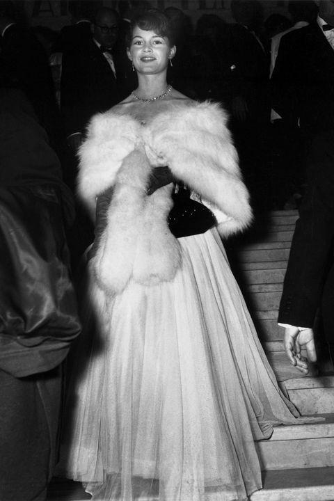 Fur clothing, Fur, White, Photograph, Clothing, Fashion, Dress, Haute couture, Snapshot, Standing,