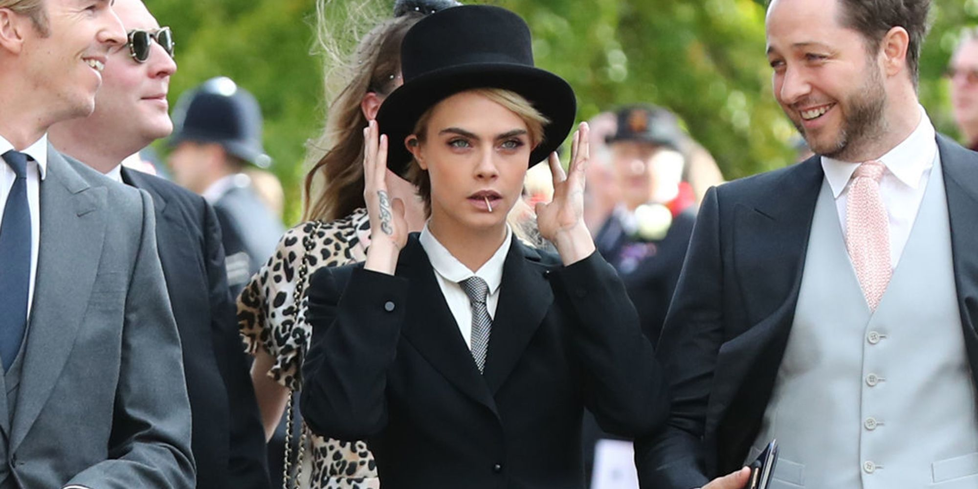 Cara Delevingne Wore a Top Hat and Tails to the Royal Wedding