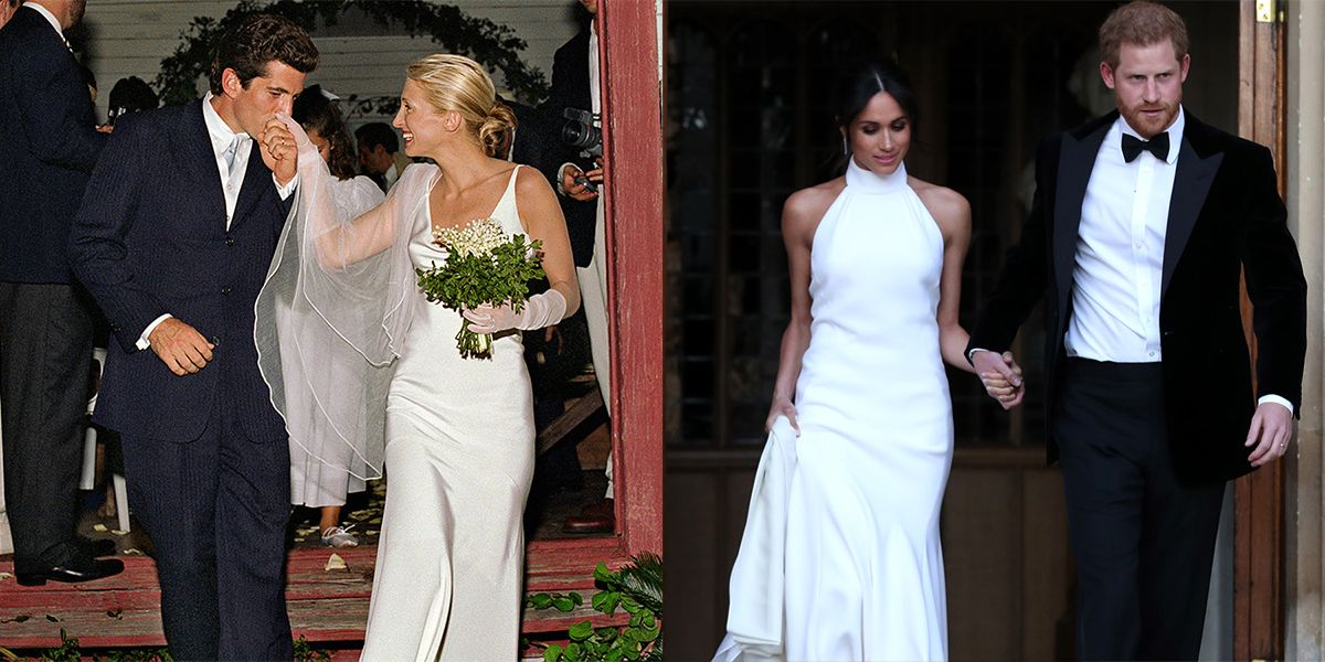 meghan markle s second wedding dress channels carolyn bessette kennedy meghan markle s second wedding dress
