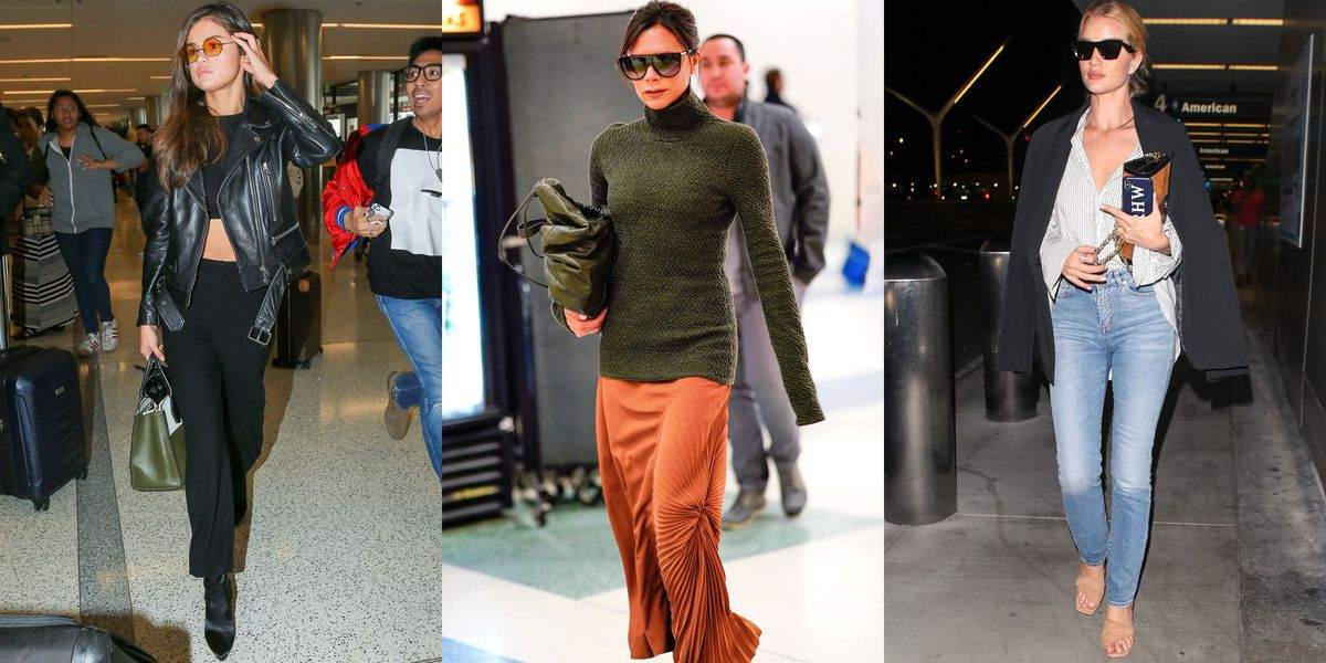 9db0d284796 26 Fashionable Airport Outfit Ideas for Women - Celebrity Travel Looks