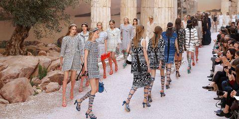 People, Fashion, Street fashion, Fashion design, Footwear, Fashion show, Summer, Dress, Runway, Event,
