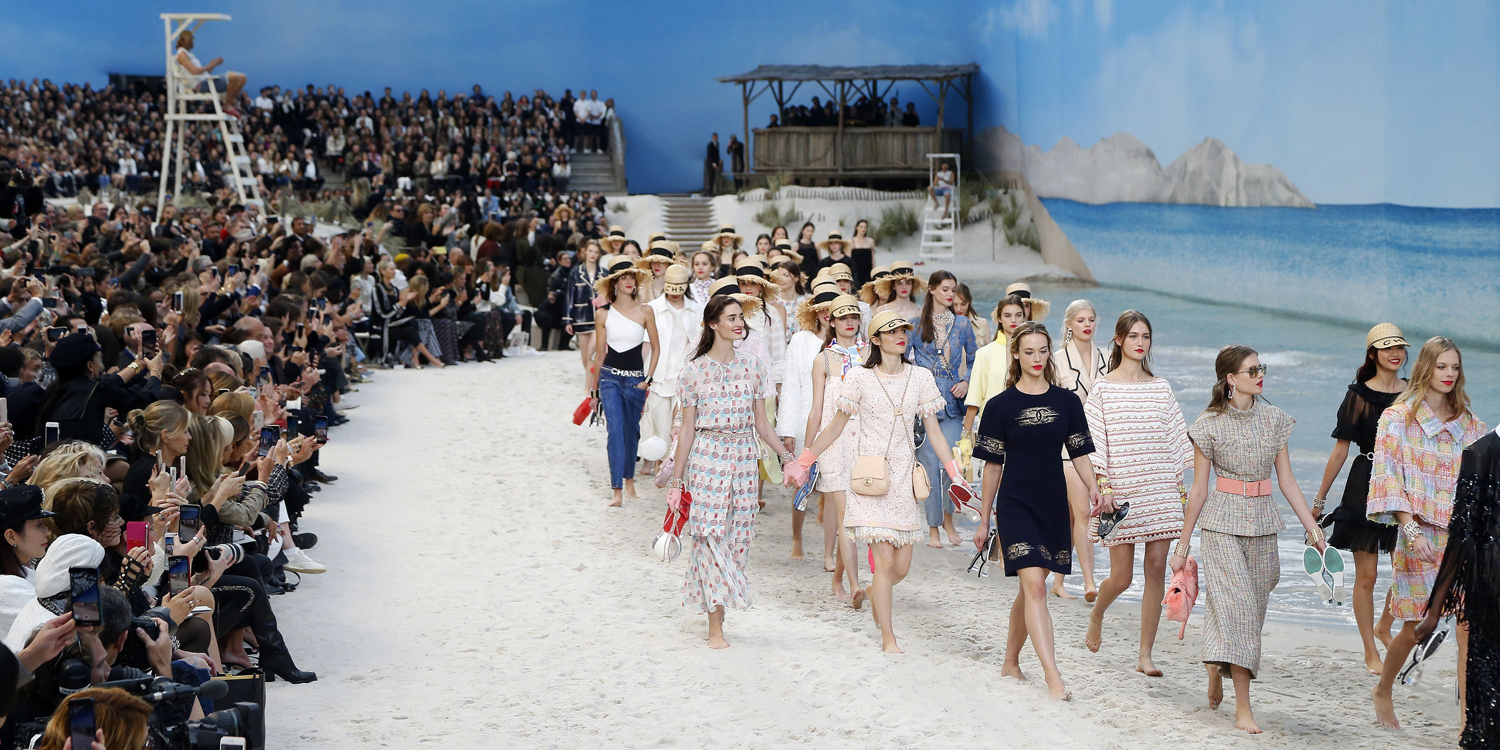 80bdecf0 Chanel's Spring 2019 Runway Was a Beach With an Ocean and Lifeguard ...