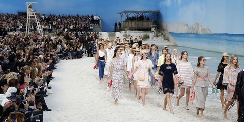 96db106fffe Chanel s Spring 2019 Runway Was a Beach With an Ocean and Lifeguard On Duty