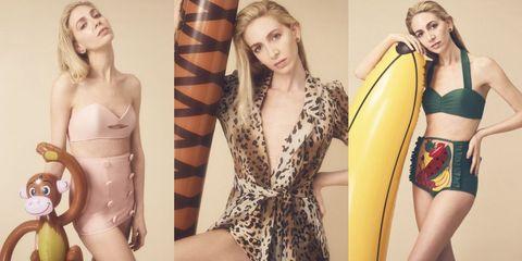 Clothing, Monokini, One-piece swimsuit, Fashion model, Lingerie, Swimwear, Yellow, Shoulder, Bikini, Model,