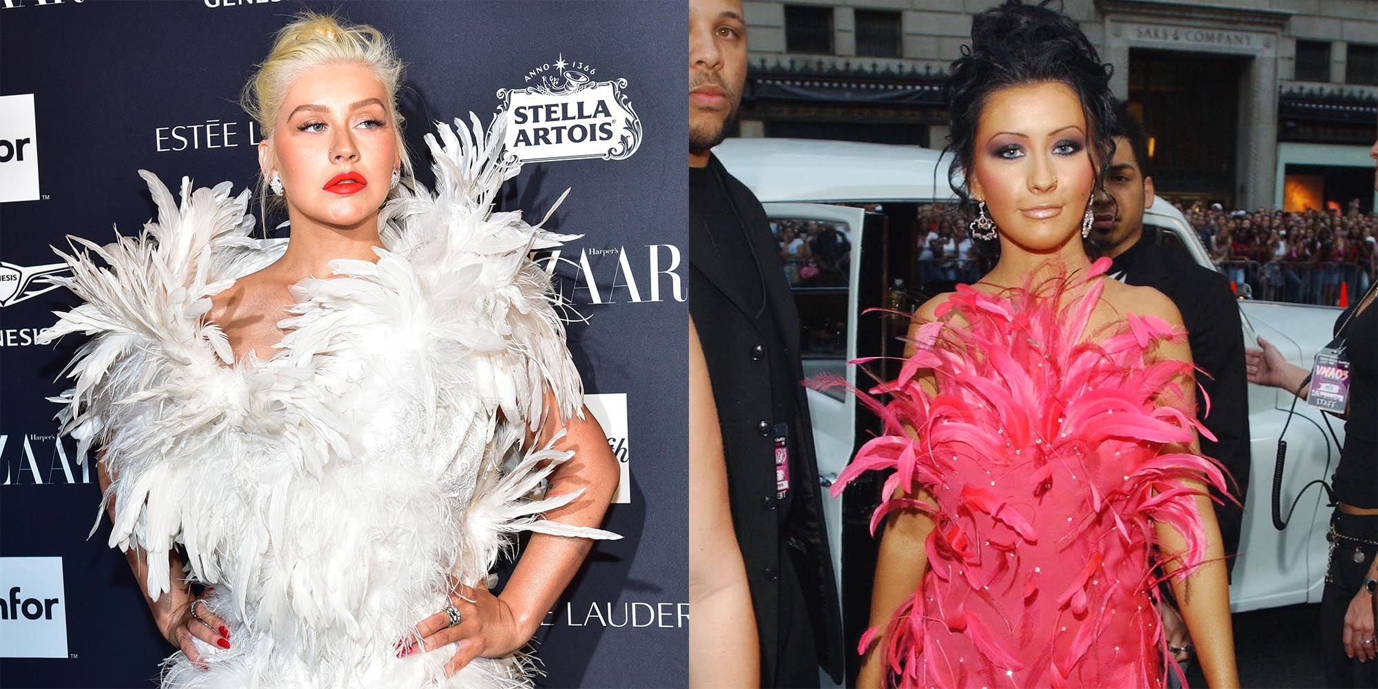 Christina Aguilera Recreated Her Iconic VMAs Feathered Look at the BAZAAR ICONS Party
