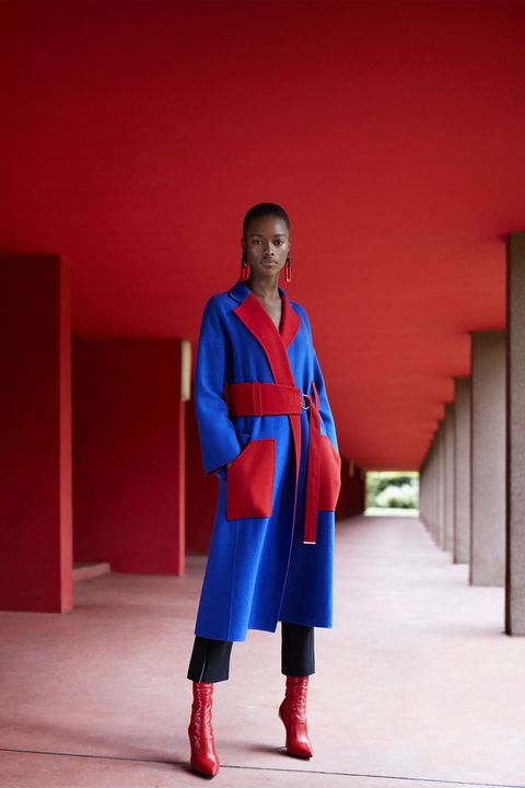 Red, Blue, Clothing, Electric blue, Fashion, Standing, Outerwear, Robe, Fashion design,