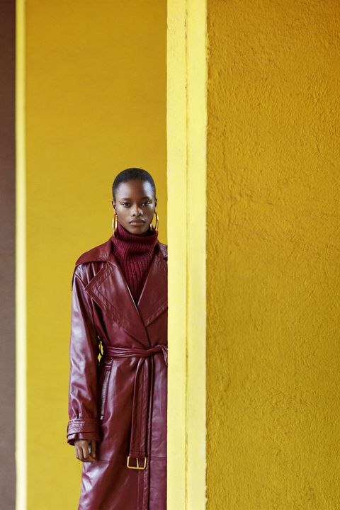 Yellow, Red, Fashion, Standing, Leather, Outerwear, Textile, Jacket, Photography, Leather jacket,
