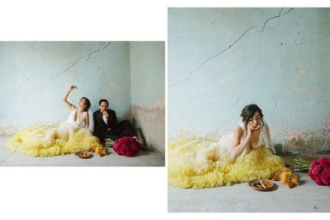 Photograph, Yellow, Snapshot, Pink, Photography, Stock photography, Sitting, Room, Art,