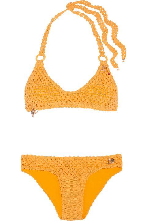 Bikini, Swimwear, Clothing, Swimsuit top, Swimsuit bottom, Yellow, Orange, Undergarment, Lingerie, Lingerie top,
