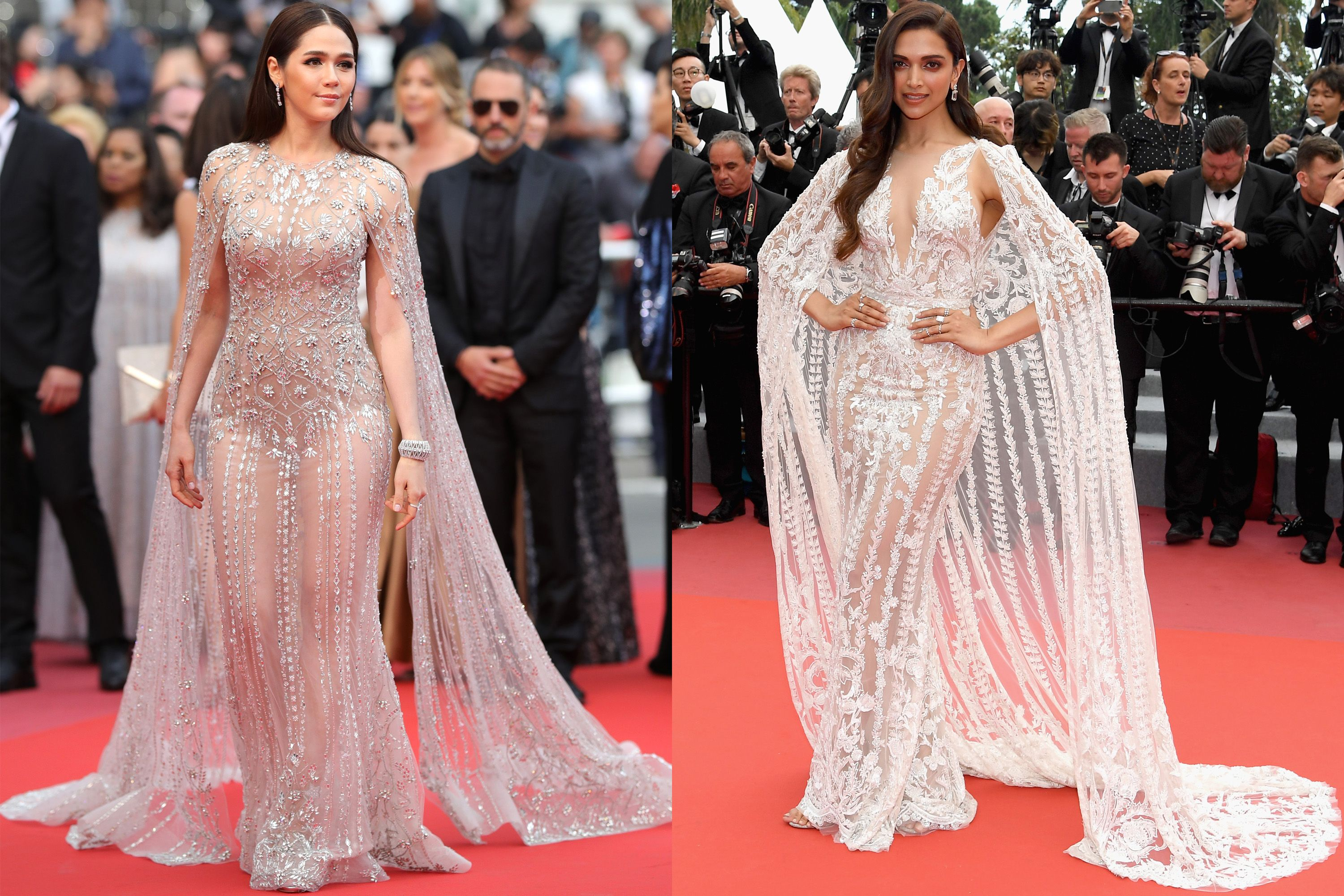 Two Actresses Showed Up In Nearly Identical Sheer Cape Dresses In Cannes