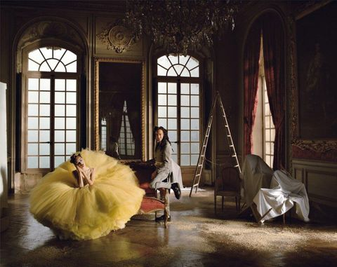 Yellow, Room, Dress, Costume, Window, Bed, Photography, Stock photography, House, Furniture,