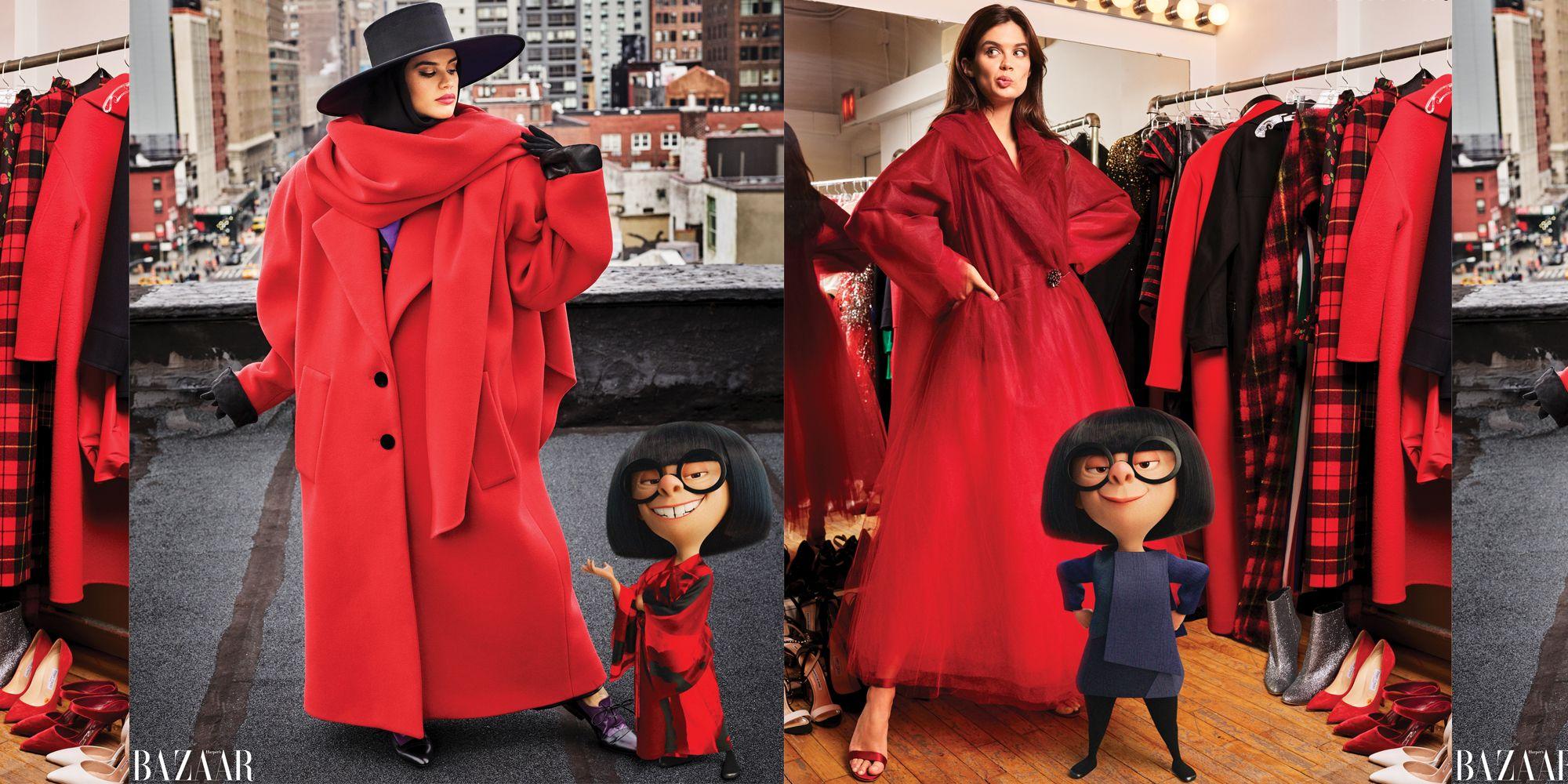 Disney S The Incredibles Edna Mode Edna Mode In Harper S Bazaar With Sara Sampaio