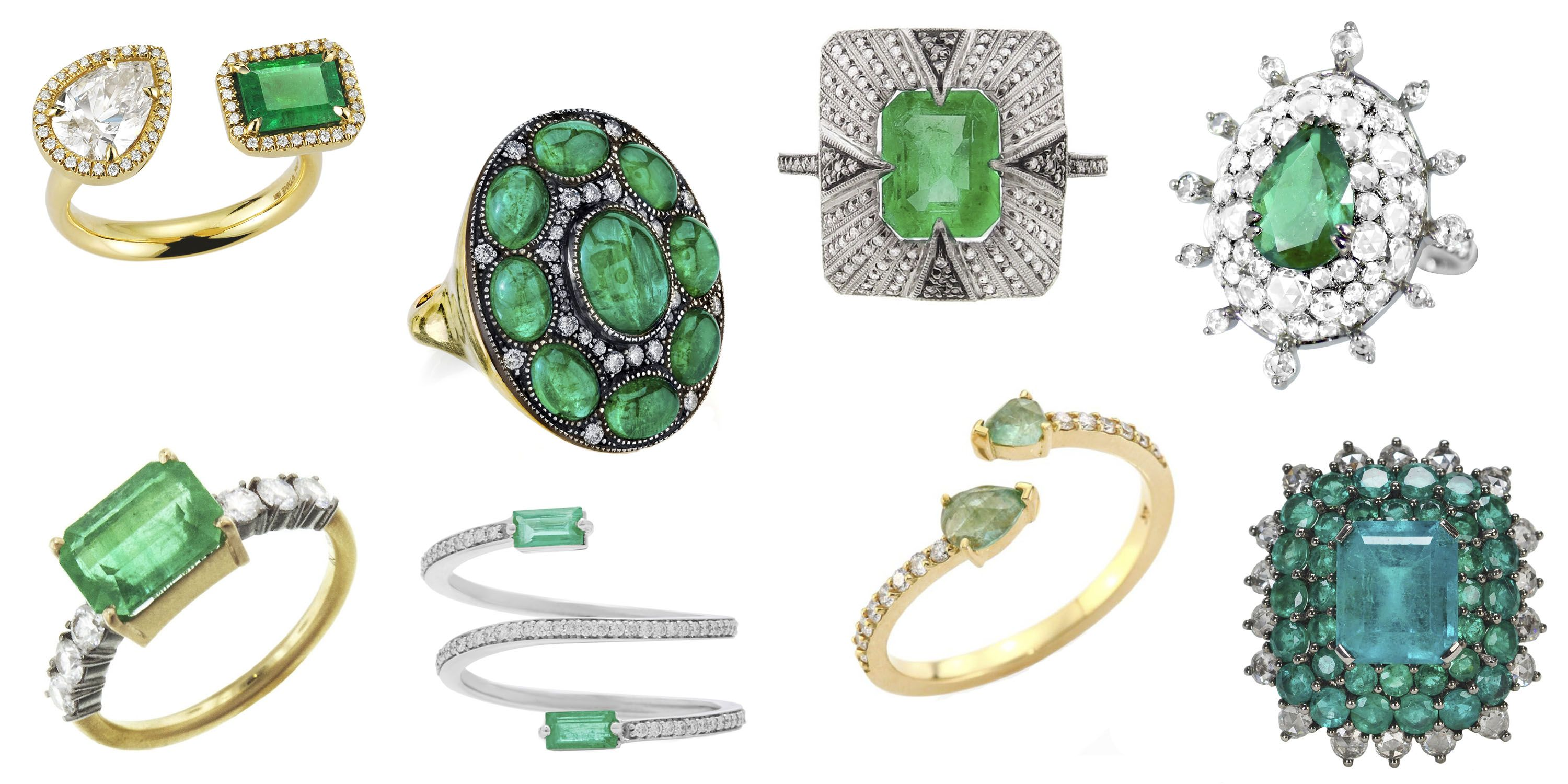 image cluster diamond ring esmeralda gemstone product rings and green emerald