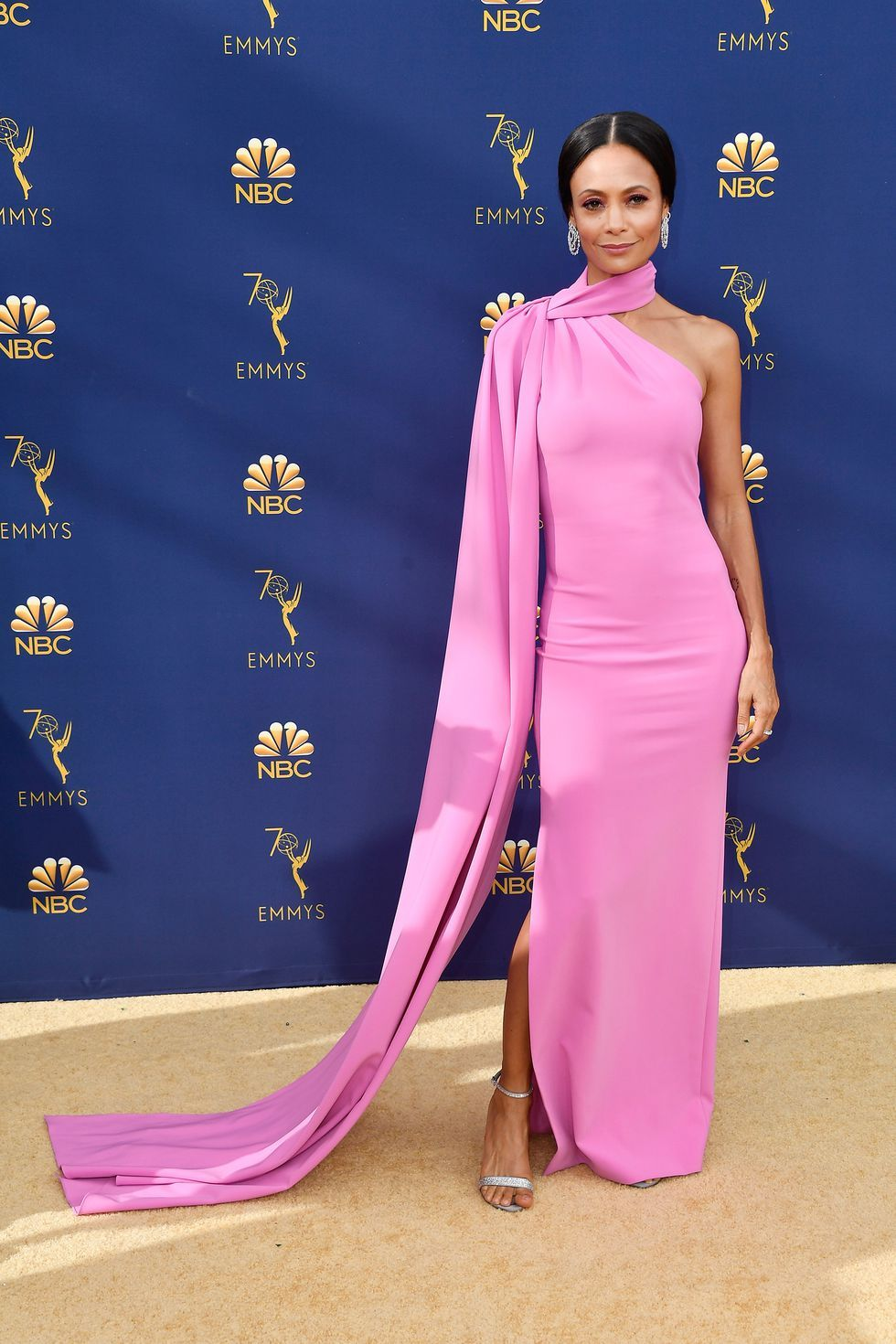 The winner for HBO's Westworld wore a ladylike asymmetrical Brandon Maxwell column to the 2018 Emmys.