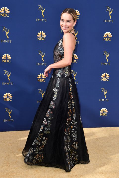 Emilia Clarke Wears A Sheer Lace Dior Dress At 2018 Emmy