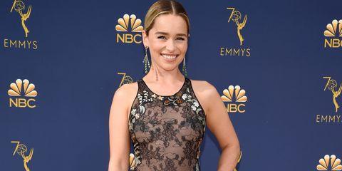Emilia Clarke Wears a Sheer Lace Dior Dress at 2018 Emmy ...