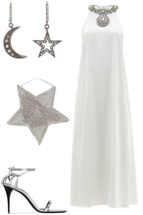 White, Clothing, Dress, Gown, Wedding dress, Bridal party dress, Formal wear, Fashion accessory,