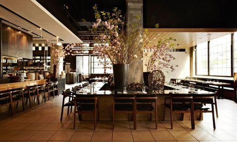 Interior design, Room, Dining room, Building, Table, Furniture, Restaurant, Architecture, Interior design, Cafeteria,