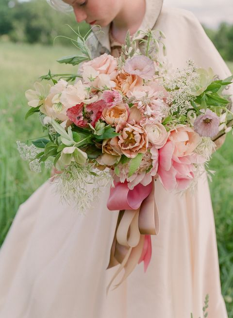 Bouquet, Pink, Photograph, Flower Arranging, Cut flowers, Flower, Wedding dress, Floristry, Floral design, Dress,