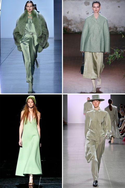 Clothing, Fashion, Fashion model, Runway, Green, Outerwear, Fashion show, Fashion design, Coat, Uniform,