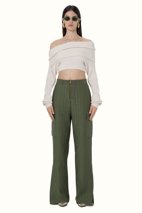 Clothing, Shoulder, Khaki, Standing, Joint, Trousers, Waist, Leg, Crop top, Neck,