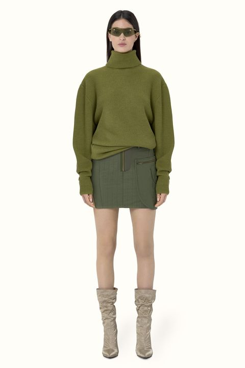 Clothing, Green, Khaki, Sleeve, Fashion, Outerwear, Footwear, Neck, Shoulder, Joint,