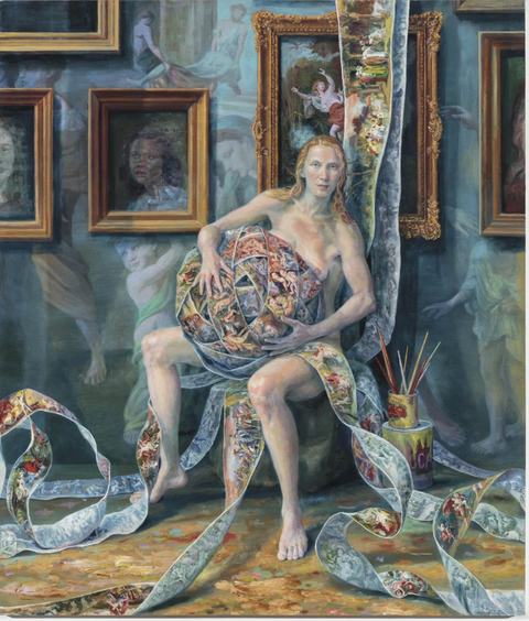 Painting, Art, Mythology, Modern art, Textile, Tapestry, Visual arts, Picture frame, Illustration, Fictional character,