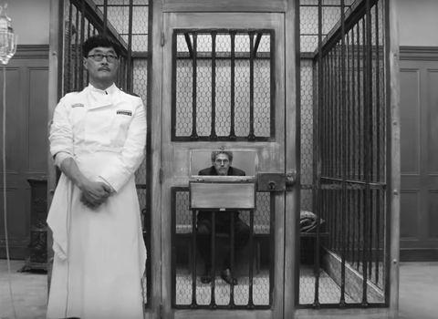 Standing, Uniform, Black-and-white, Door,