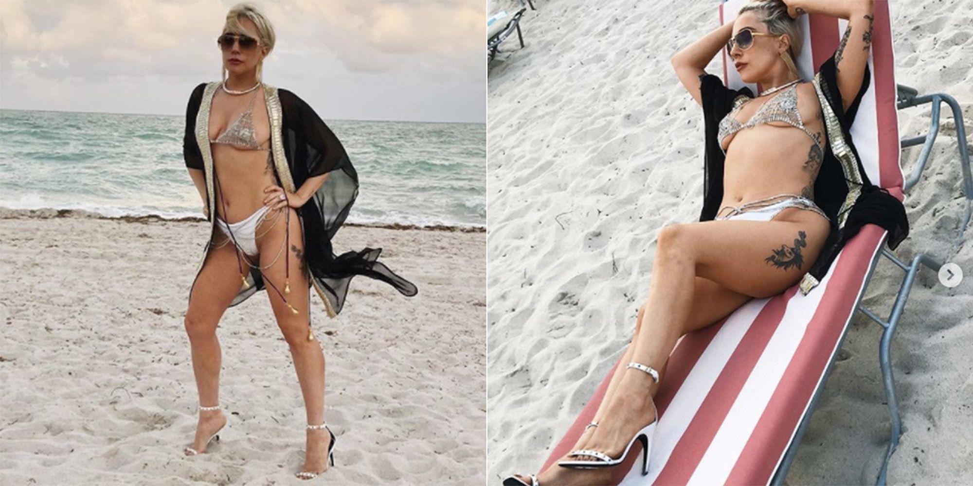 Lady Gaga Wears Heels On The Beach