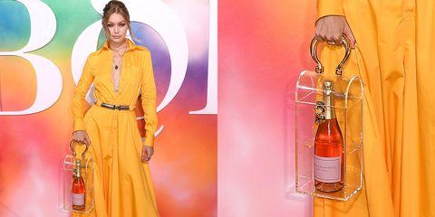 Yellow, Orange, Peach, Fashion, Dress, Bottle, Glass bottle, Drink,