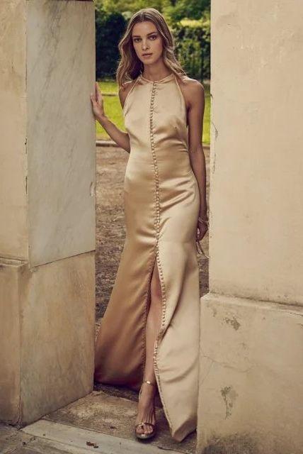 gold wedding dress costarellos