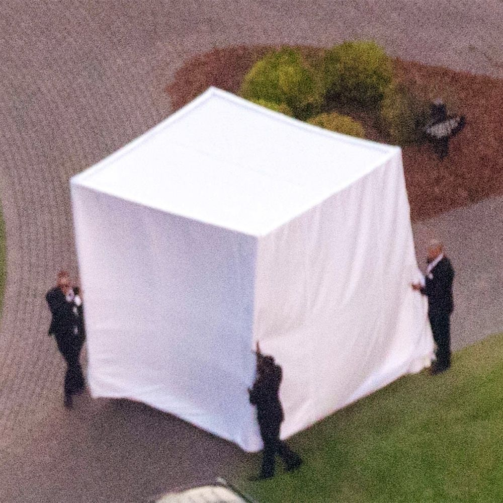 Hailey Baldwin Hid Her Wedding Dress in a Massive Tent