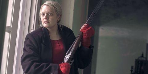 Jacket, Blond, Safety glove, Shotgun,