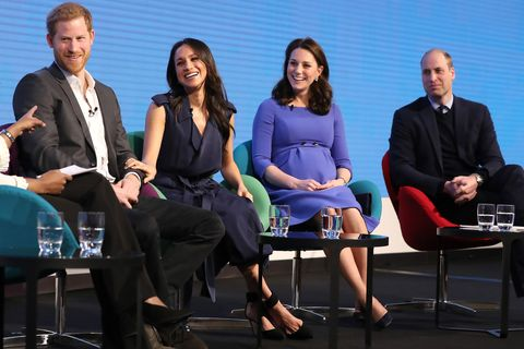 4a3e8036b4500 Prince Harry, Meghan Markle (in Jason Wu), Kate Middleton (in Seraphine), and  Prince William at the Royal Foundation Forum.