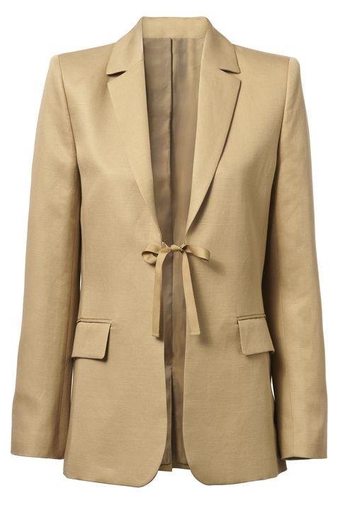 Clothing, Outerwear, Blazer, Jacket, Suit, Beige, Formal wear, Tan, Sleeve, Top,