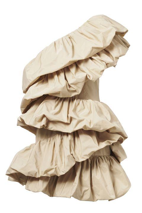 Ruffle, Clothing, Product, Beige, Textile, Dress, Embellishment,