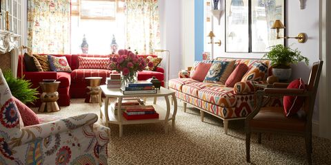 Living room, Furniture, Room, Couch, Interior design, Red, Floor, Coffee table, Property, Table,