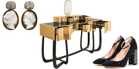 Furniture, Product, Table, Shelf, Material property, Bathroom accessory, Room, Brass, Metal, Candle holder,