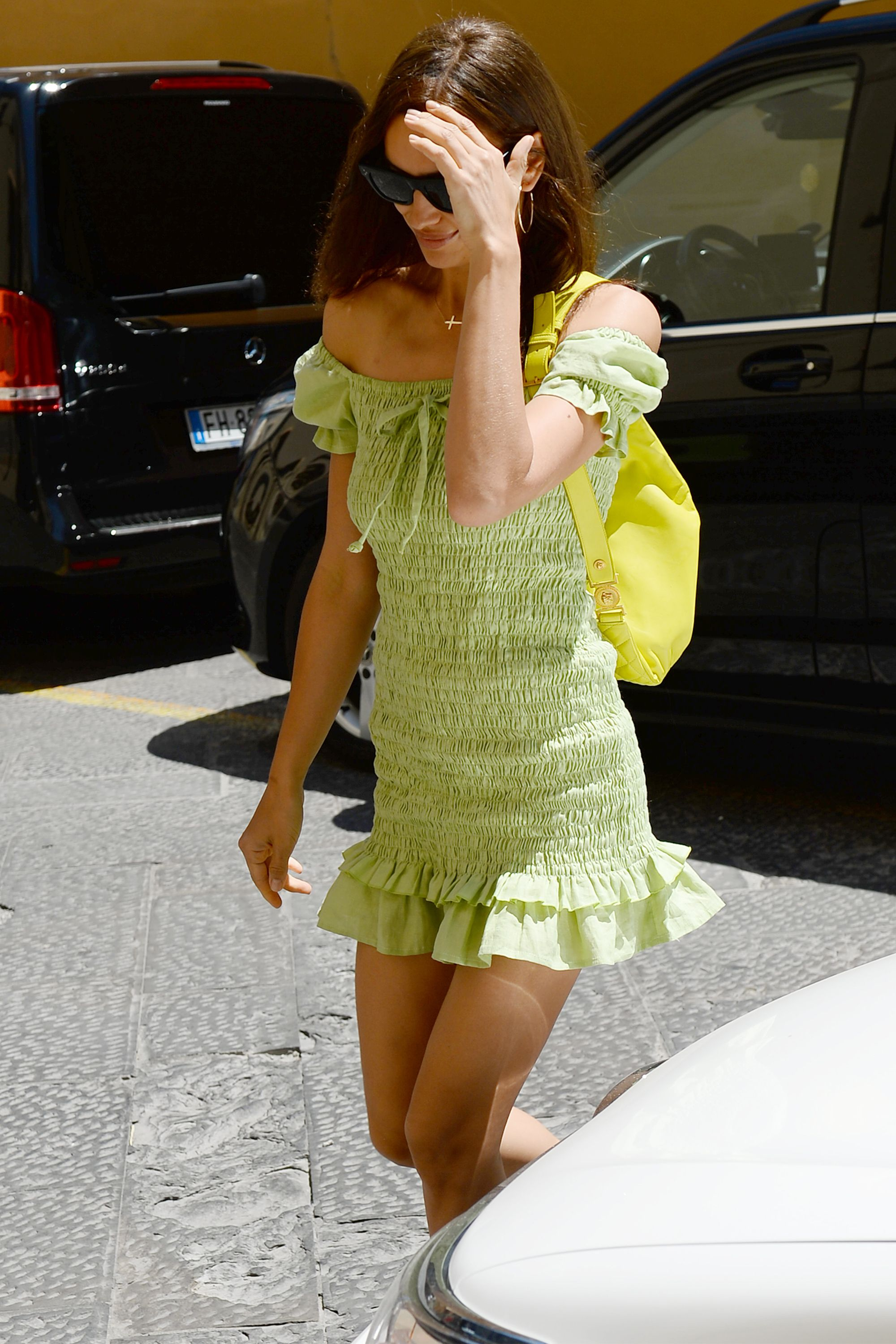 Irina Shayk Steps Out in the Dress (and the Color) of Summer