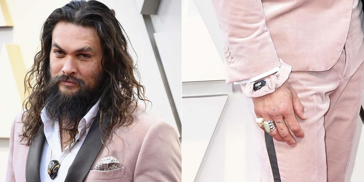 Jason Momoa Wore A Pink Fendi Scrunchie To The Oscars With