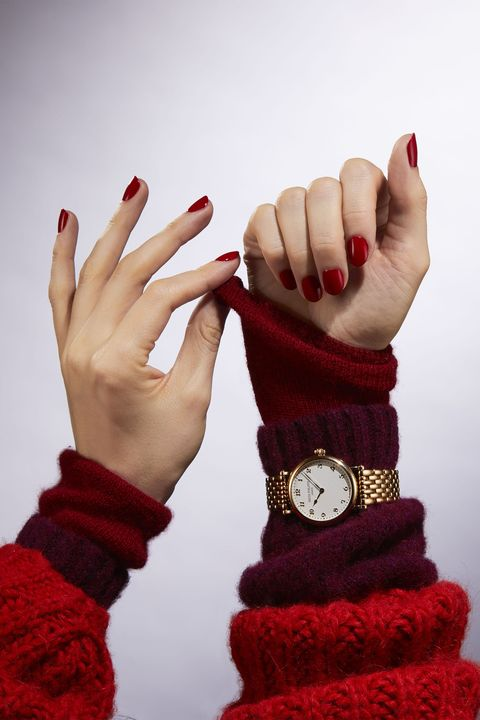 Finger, Skin, Red, Nail, Wrist, Pattern, Carmine, Nail care, Toe, Nail polish,