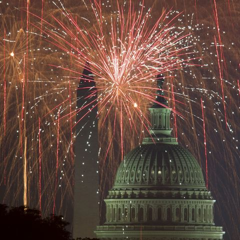 fireworks explode over the national mall as the us capitol r and national monument are seen on july 4, 2017, in washington, dc  afp photo  paul j richards        photo credit should read paul j richardsafp via getty images