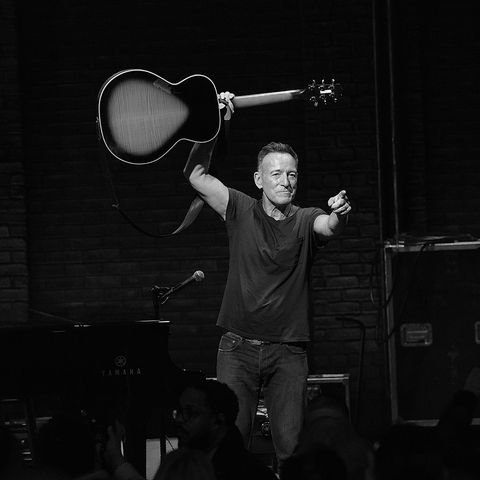 """new york, ny   december 15  editor's note this image has been converted to black and white bruce springsteen takes his final """"springsteen on broadway"""" curtain call at walter kerr theatre on december 15, 2018 in new york city  photo by taylor hillgetty images"""