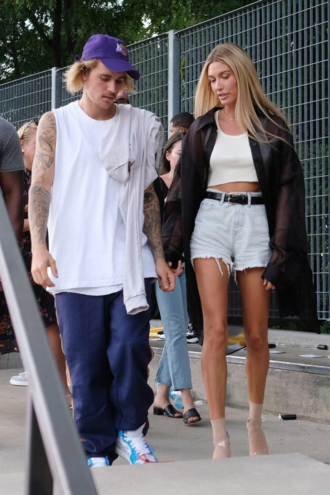 hailey baldwin and justin bieber attend fashion week together for