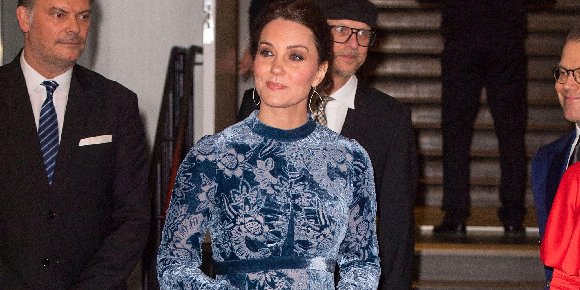 Kate Middleton Wears a Blue Velvet Dress in Stockholm Royal Tour